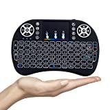 Mini Wireless Keyboard,i8+ 2.4GHz, with Touchpad Mouse,LED Backlit,Rechargable Li-ion Battery (Color: 1-Black)