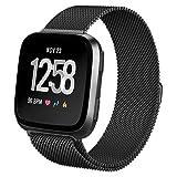 hooroor for Fitbit Versa Bands Women Men Small Large, Milanese Loop Stainless Steel Metal Sport Replacement Bracelet Strap with Magnet Lock Wristbands for Fitbit Versa Smart Watch (Black, Large) (Color: Black, Tamaño: Large)