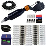 Solong Tattoo® 2-In-1 Pipe Rotary Tattoo Machine Gun and Permanent Makeup Pen Kit With 50pcs Hawk Needles Black M668C-1