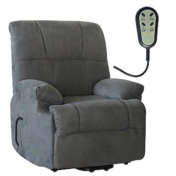 Fernsehsessel elektrischer TV Relaxsessel Aufstehhilfe Mikrofaser grau