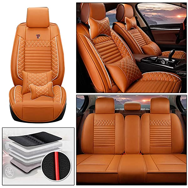 Beige Set Of Luxury Comfortable Leather Look Seat Covers//Protectors For Mazda
