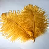 Sowder 12-14inch(30-35cm) Ostrich Feathers Plume for Wedding Centerpieces Home Decoration Pack of 10pcs(Golden) (Color: Galden, Tamaño: 12-14 inch)