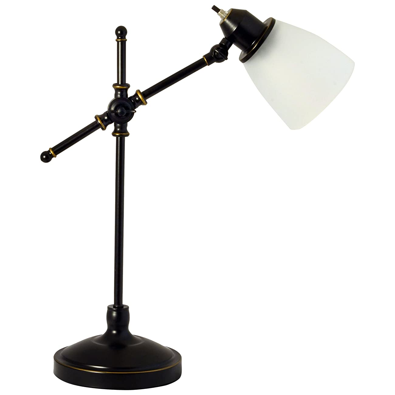 Light Accents Antique Style Desk Lamp with Black with Gold Trim and Frosted White Glass Shade Desk Light 2