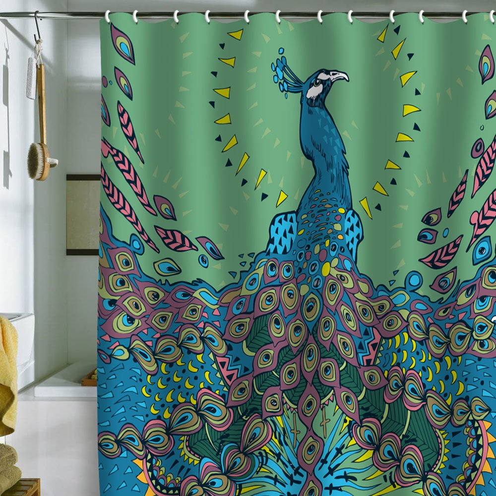 funy peacock shower curtain using peacock shower curtain for any