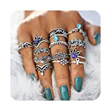 Hanloud Vintage Silver Crystal Joint Knuckle Nail Ring Set Multi Flower Unicorn Punk Stacking Ring Set (Color: Blue Crystal Ring Set)
