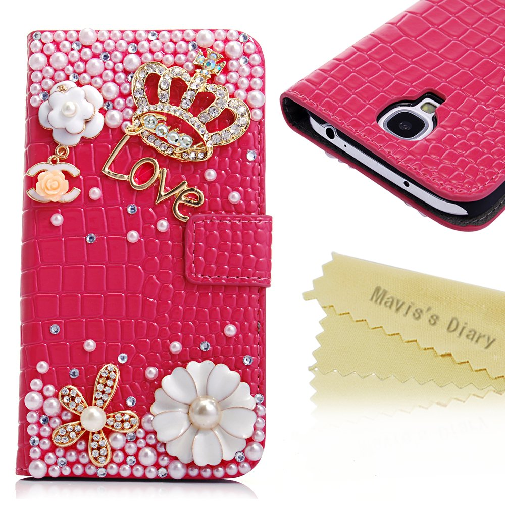 Bling Crystal Crown Rhinestone Flower Pearl Diamond Design Sparkle Glitter Hot Pink Leather Wallet Type Magnet Flip Case Cover Samsung Galaxy S4