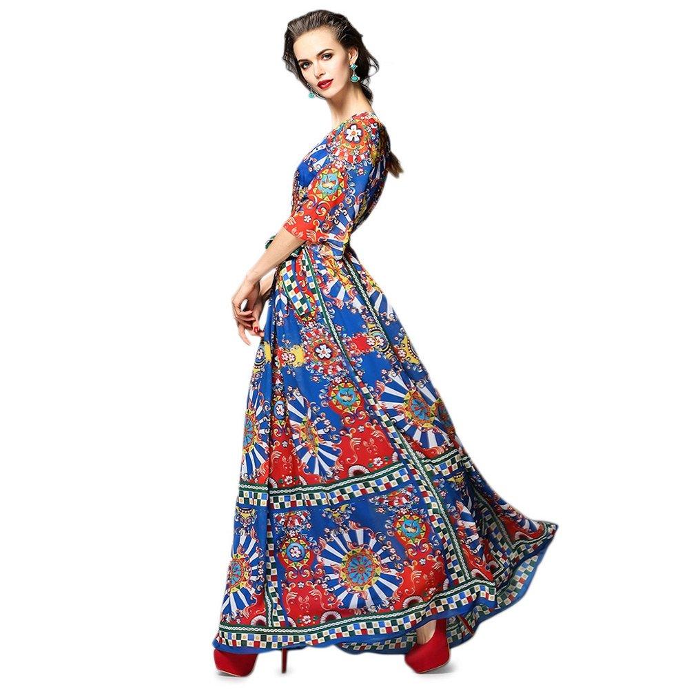 Dezzal Women's Vintage Geometric Print Cocktail Party Maxi Dress 1