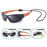 VATTER TR90 Unbreakable Polarized Sport Sunglasses For Kids Boys Girls Youth 816blueorange