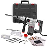 XtremepowerUS Deluxe 1200w Electric Rotary Hammer SDS Plus Drill Swivel Adjustable Handle Drilling Chisel Flat Bit w/Carrying Case (Color: Grey/Black)