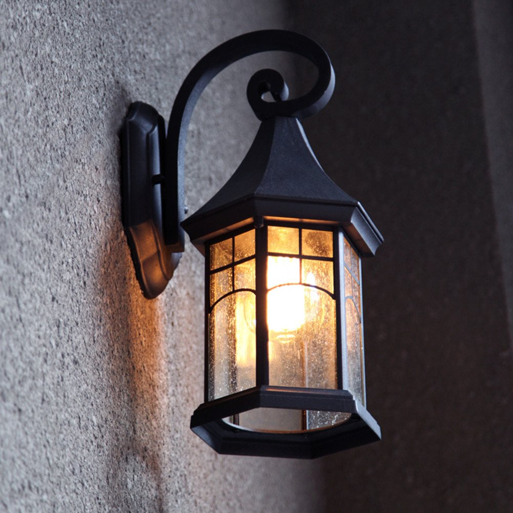 BAYCHEER HL409901 Industrial Retro Style Aged Pewter Brushed waterproof Outdoor Wall Light Wall Sconce with 1 Light 0