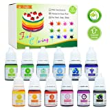 Food Coloring - 12 Color Bright Neon Cake Food Coloring Set for Baking, Decorating, Icing and Cooking - Liquid Food Color Dye for Slime Making and DIY Crafts - .25 fl. oz. Bottles