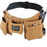 Real leather kids tool belt with two blue woodworking carpenter pencils gift set