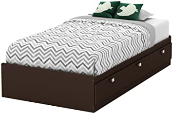 South Shore Furniture 39'' Karma Mates Bed, Twin, Chocolate