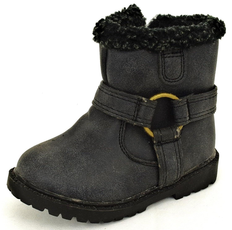 Baby / Kinder Stiefel Biker Boots Thermo-Innenfutter schwarz