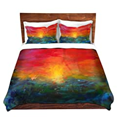 Duvet Cover Premium Woven Twin, Queen, King from DiaNoche Designs - Rainbow Sunset