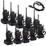 Retevis H-777 Walkie Talkie UHF 400-470MHz 16CH CTCSS/DCS with Earpiece 2 Way Radio(10 Pack)and Programming Cable