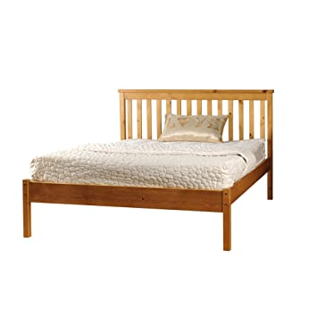 4ft6 Double Low End Solid Wooden Medina Bed Frame in Caramel with Harper Mattress
