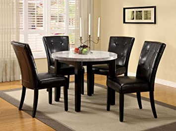 5 Pc. Marion IV in a Espresso Wood Finish Round Marble Table Top Dining Set