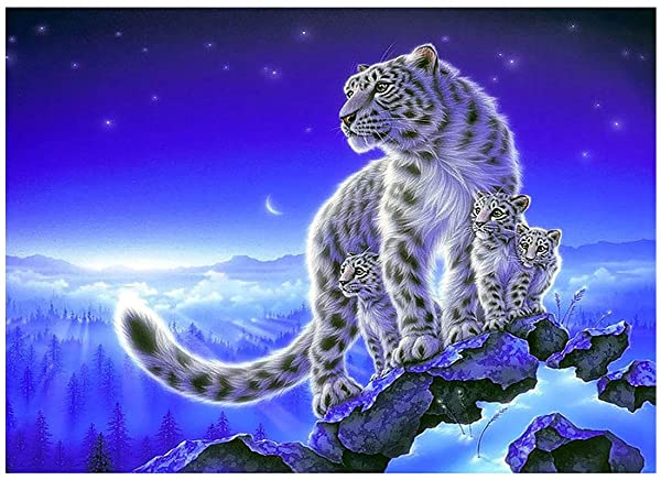 AiEllen DIY Diamond Painting Counting Set, Cross Stitch Craft Wall Decoration, (12X16 inch / 30X40cm) White Tiger (Color: L3)