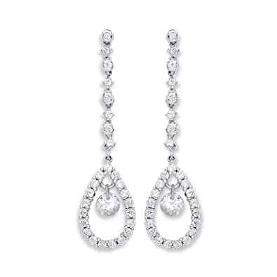 Carissima 9ct White Gold Cubic Zirconia Drop Earrings