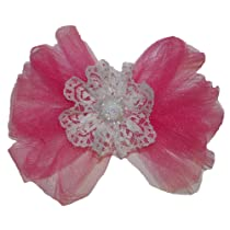 Girls New Extra Large Pink Princess Tulle & Lace Hair Bow on Alligator Clip (5034)