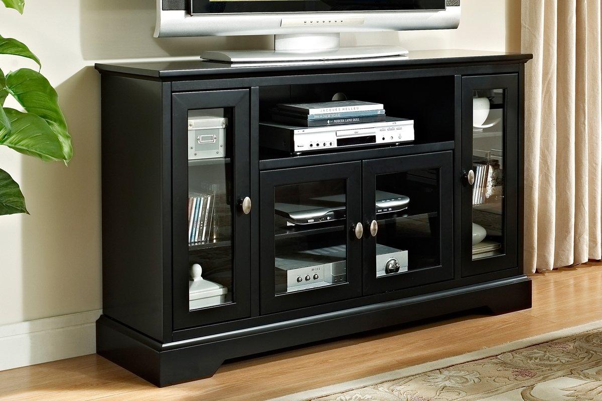 Inch modern glass wood highboy tv console black