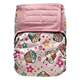 Baby AIO Cloth Diaper Shell One Size – Hook and Loop, Attached Insert (Cupcake) (Color: Cupcake, Tamaño: One Size)