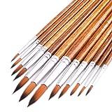 Art Watercolor Detail Paint Brushes Set 12pcs, Round Paint Brushes Set, Premium Soft Nylon Hair Wood Handle for Watercolor, Acrylic, Oil, Gouache, Tempera, and More