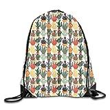 Custom Printed Drawstring Backpacks Bags, Mexican Succulent In Pots Botanical Themed Illustration House Plant Arrangement (Color: B, Tamaño: 36cm x 43cm)