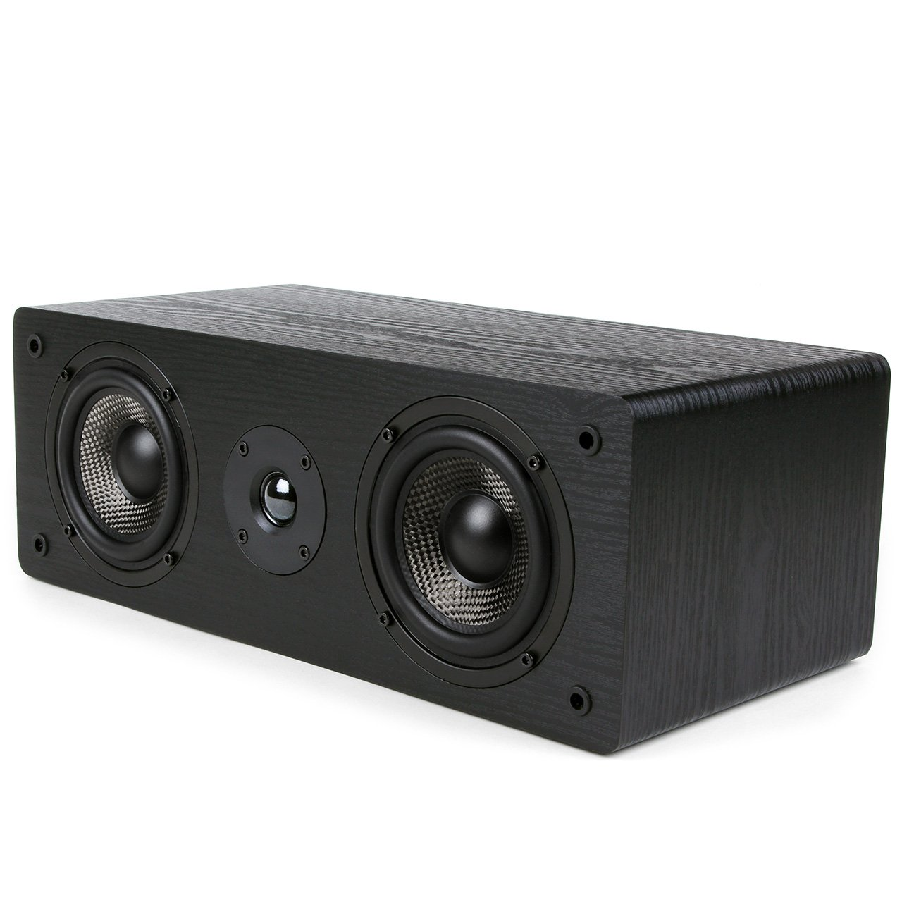 Micca MB42-C Center Channel Speaker with Dual 4-Inch Carbon Fiber Woofer and Silk Dome Tweeter, Black