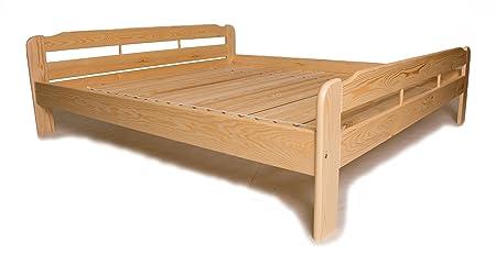 Doppelbett mit Lattenrost aus Kiefer massiv - 180x220 cm ✓ Leichter Aufbau ✓ Robuste Bauweise ✓ Massives Holz-Bett | Bettgestell optional mit Schubladen | Kieferbett, Naturholzbett aus Familienbetrieb