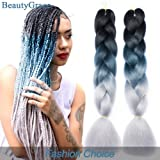 BeautyGrace 5 Packs Ombre Jumbo Braiding Hair Extensions Kanekalon Synthetic Ombre Braid Hair Expressions (24 inch, Black-Blue-Grey) (Color: Black-Blue-Grey, Tamaño: 24 inch)