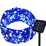 Solar String lights - Dolucky 150 LED Solar Fairy Lights Blue Waterproof Copper Wire Lights Outdoor Lighting for Garden, Wedding, Homes, Party, Halloween, Chrsitmas Decoration (Color: blue, Tamaño: 150 LED)
