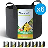 WINNER OUTFITTERS 6-Pack 5 Gallon Grow Bags/Aeration Fabric Pots with Handles (Color: Black, Tamaño: 6-Pack 5 Gallons)