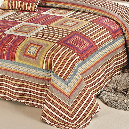 XQL 100% Cotton Irregular 3 Piece Quilt Set Muti-Color - King Size
