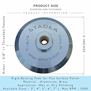 Stadea ABP103Q 5 Inch Hook and Loop Backing Pad With Rigid Aluminium Backing, 5/8 11 Brass Arbor (Tamaño: 5 - Arbor 5/8 11)