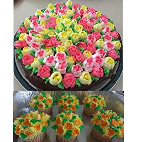 7pcs Russian Tips + 1 Coupler Icing Piping Nozzles Cake Decoration Tips Tulip Rose Nozzle Tip Large Size