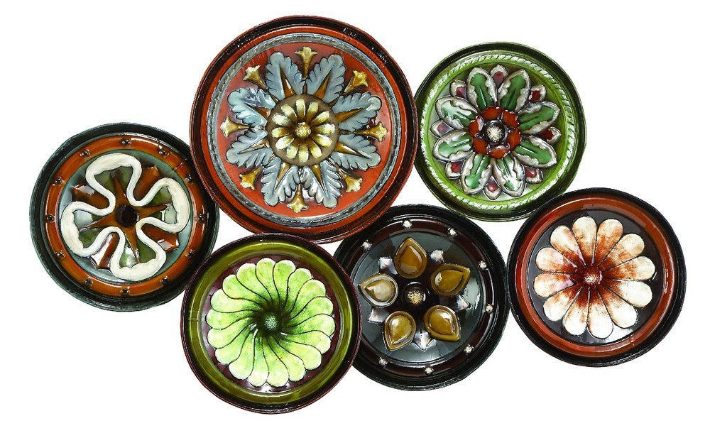 wall sculptures decor art metal flower plate lobby home living room porch modern ebay. Black Bedroom Furniture Sets. Home Design Ideas