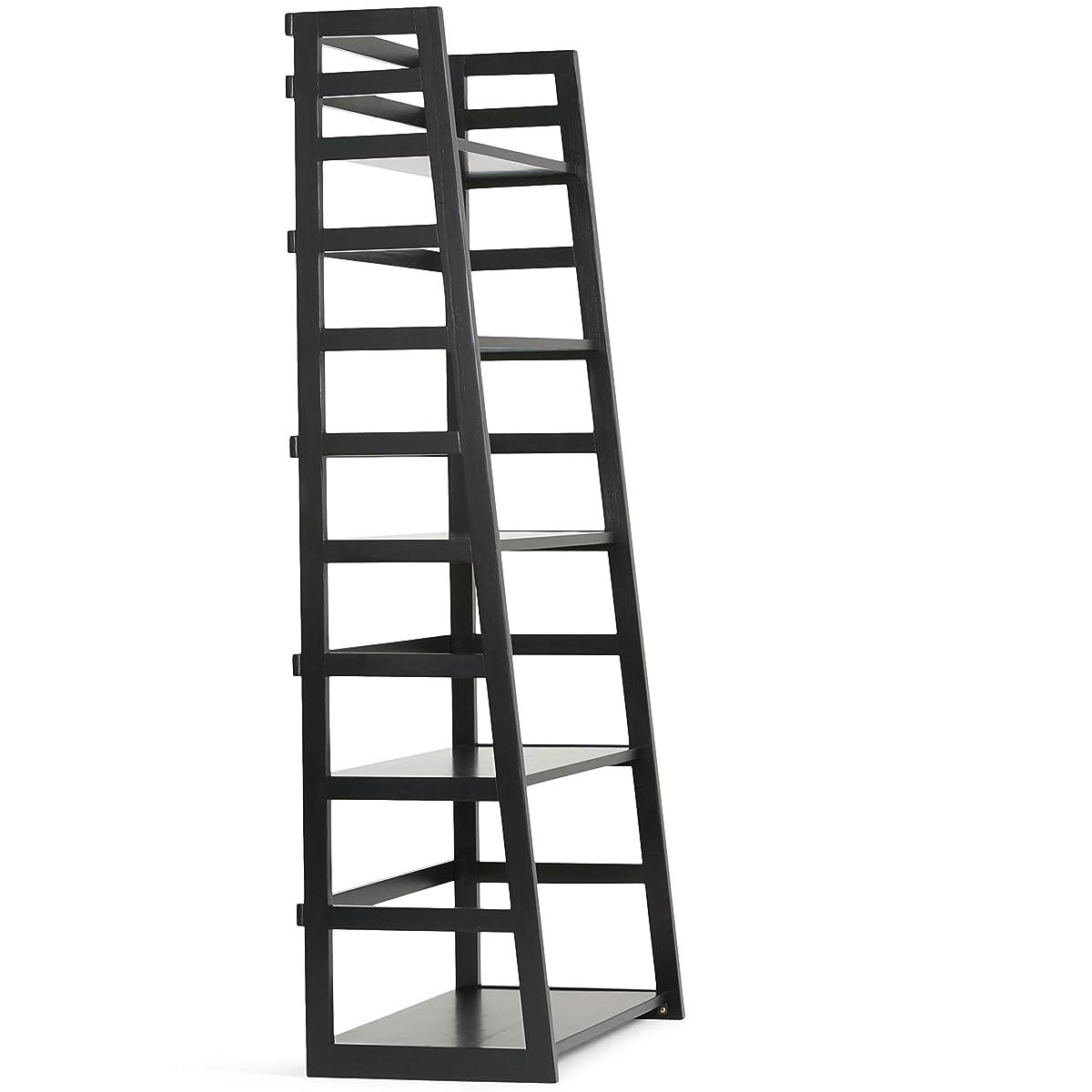 Simpli Home Acadian Solid Wood Ladder Shelf Bookcase, Black