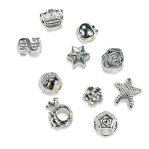 Blingery 5x European Styles Charm Bracelet Silver Plated Snake Chain Bracelet Making Gift Kit Women Girl Jewellery DIY Set