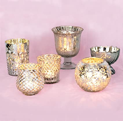 Vintage Style Glamorous Silver Mercury Glass Candle Holders - Set of 6 by Luna Bazaar