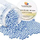 PandaHall Elite 4mm About 1000Pcs Tiny Satin Luster Glass Pearl Round Beads Assortment Lot for Jewelry Making Round Box Kit Cornflower Blue (Color: Cornflower Blue-1000 Pcs, Tamaño: 4~4.5mm)