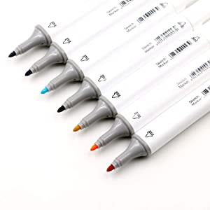Touch Five Pens&Markers 80 Colors Touch Art Sketch Twin Marker Pens Broad Fine Point (Animation Design) ,Plus Free Gift - Felt Pencil Case