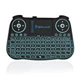 DQiDianZ Mini Wireless Keyboard 2.4G Backlit Touchpad Wireless Keyboard for Smart Android TV Box PC-Black, Built-in Lithium Battery (Color: Black)