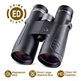 BNISE 10x50 ED Binoculars for Adults, Compact Design, Waterproof and Fog Proof, with BAK4 Prism and Fully Broadband Multi-Coated Lens, Great for Bird Watching, Hunting and Stargazing (Color: 10x50 Black)