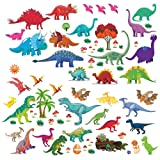Dinosaur Wall Decals, Decorative Dino Stickers for Boys & Girls Room, Peel and Stick Colorful Wall Art Mural for Bedroom, Baby Nursery, Bathroom, Playroom, Removable Vinyl Home Decor, 81 Pieces (Color: Red,blue,green)