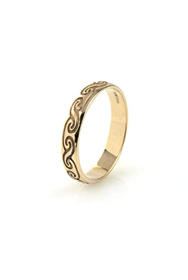9ct Yellow Gold Celtic Wedding Band - Size V