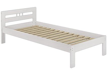 Solo per legno 60.65–09W moderno letto singolo con roll ruggine–90x 200–legno massiccio bianco