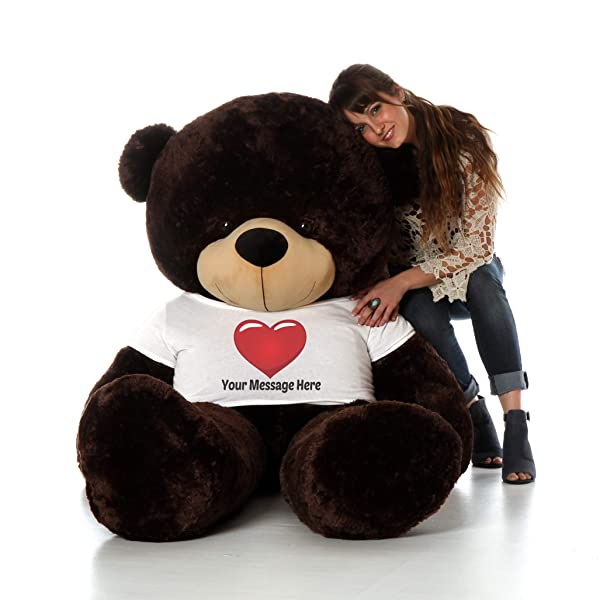 Giant Teddy Personalized Life Size 6 Foot Bear Cuddles with Red Heart T-Shirt (Chocolate Brown) (Color: Chocolate Brown, Tamaño: 6 Foot)