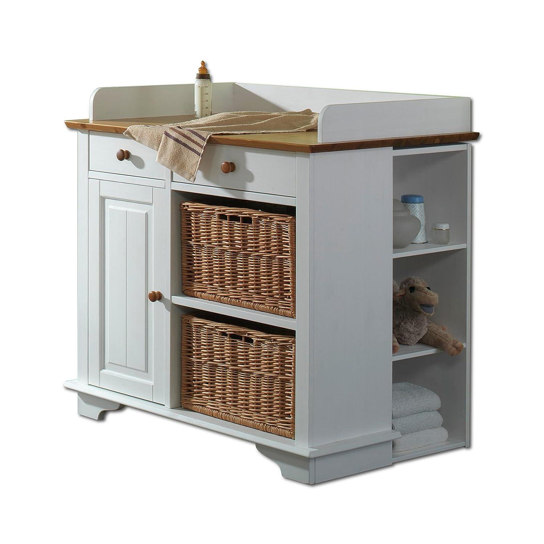SAM® Wickelkommode Julia 1 Tür, 2 Schubfächer, 2 Schubkörbe weiß lackiert Kiefernholz massiv Lieferung per Paketdienst